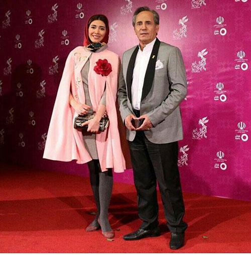 مجید مظفری و دخترش (نیکی مظفری) در جشنواره فیلم فجر34