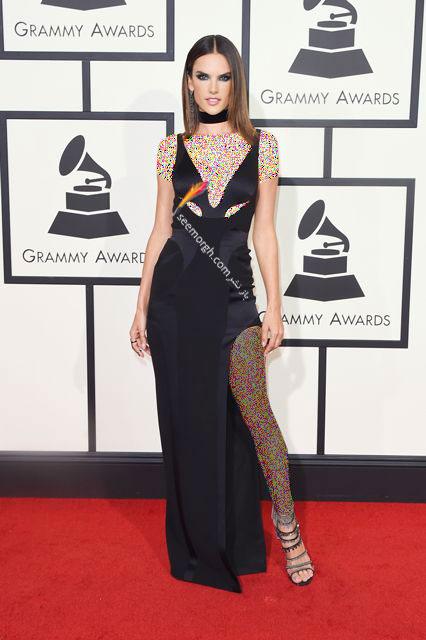 مدل لباس الساندرا آمبروسیو Alessandra Ambrosio در جوایز گرمی Grammy 2016