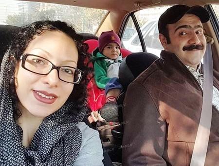 بهادر مالکی در کنار همسر و فرزندش