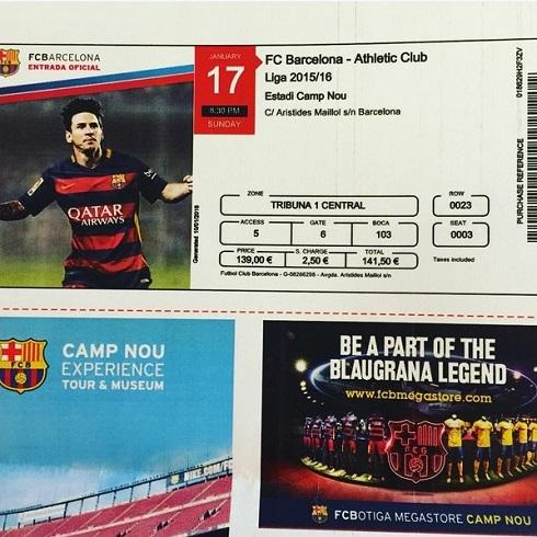 عکس بلیت بازی بارسلونا-اتلتیك بیلبائو