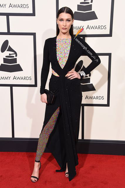 مدل لباس بلا حدید Bella Hadid در جوایز گرمی Grammy 2016