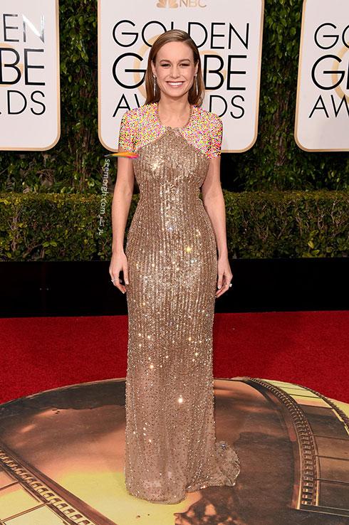 مدل لباس بری لارسون Brie Larson در گلدن گلوب Golden Globes 2016 از برند Calvi Klein