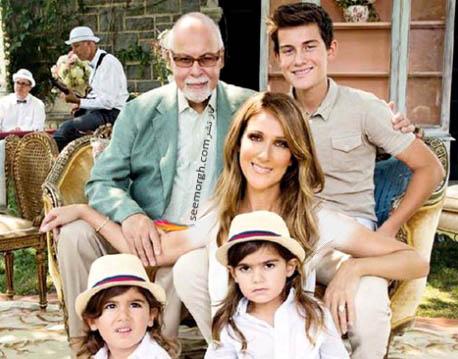 سلن دیون در کنار همسر و فرزندانش
