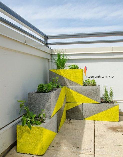 یک باغچه پلکانی رنگی  با بلوک های سیمانی درست کنید