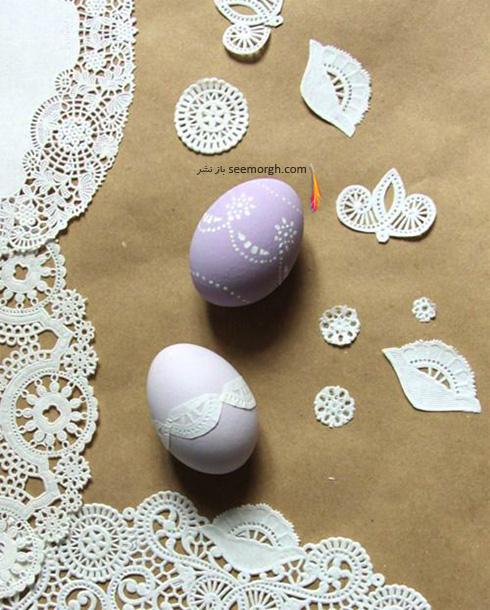 تزیین تخم مرغ هفت سین با دستمال پارچه ای طرح دار
