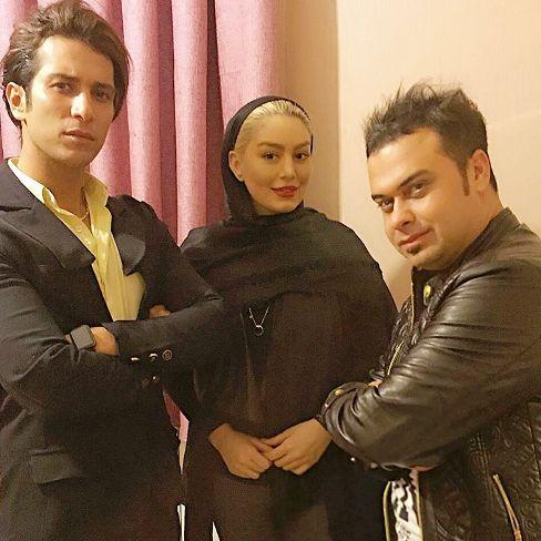 حامد پهلان در کنار سحر قریشی و همسرش