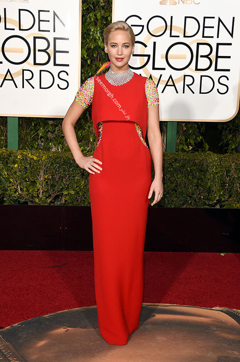 مدل لباس جنیفر لارنس Jennifer Lawrence در گلدن گلوب Golden Globes 2016 از برند Dior