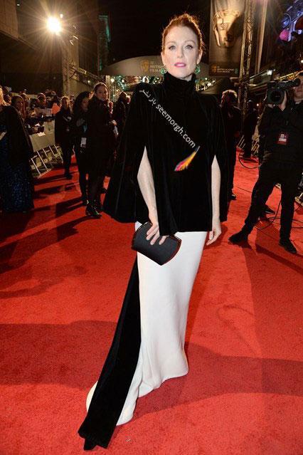 مدل لباس جولین مور Julianne Moore در مراسم بفتا Bafta 2016