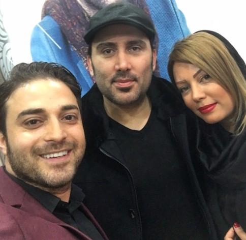 نیما مسیحا و همسرش در کنار بابک جهانبخش در کنسرت حامی