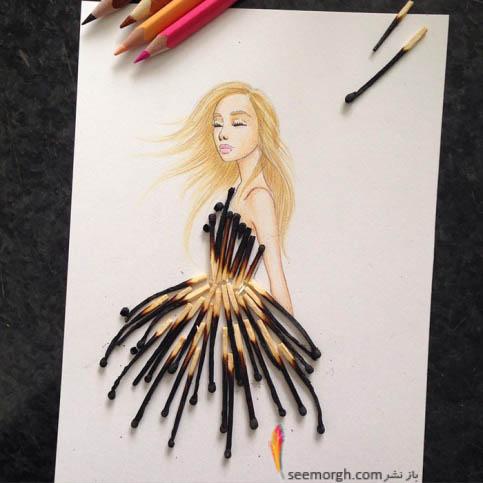 طراحی لباس با کبریت های سوخته!