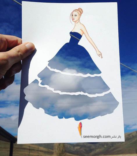 لباس این زن درواقع آسمان نیمه ابری می باشد