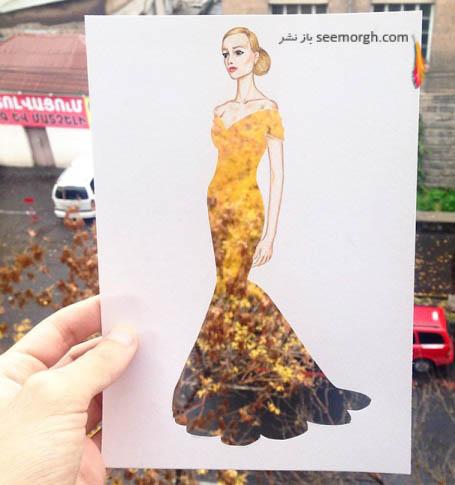 این لباس از برگ زرد درختان و آسفالت خیابان می باشد