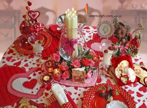 تزیین میز ناهارخوری با قلب های قرمز برای کسانی که دوست شان دارید - مدل شماره 1