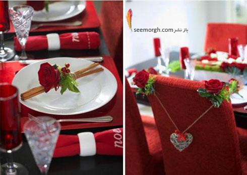 تزیین میز ناهارخوری به رنگ قرمز برای کسانی که دوست شان دارید - مدل شماره 3
