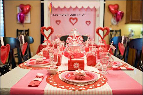تزیین میز ناهارخوری با قلب های قرمز برای کسانی که دوست شان دارید - مدل شماره 6