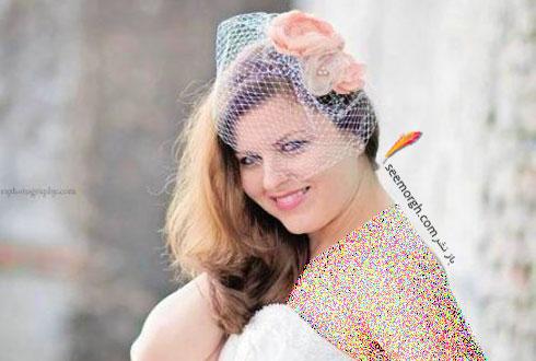 تزیین موی عروس با تور کوتاه و گل - مدل شماره 3