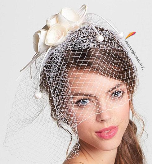 تزیین موی عروس با تور کوتاه و گل - مدل شماره 4