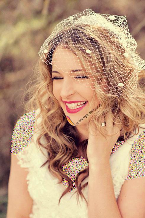 تزیین موی عروس با تور کوتاه و گل - مدل شماره 5
