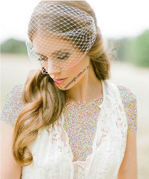 تزیین موی عروس با تور کوتاه و گل - مدل شماره 7