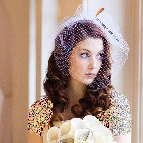 تزیین موی عروس با تور کوتاه و گل - مدل شماره 8