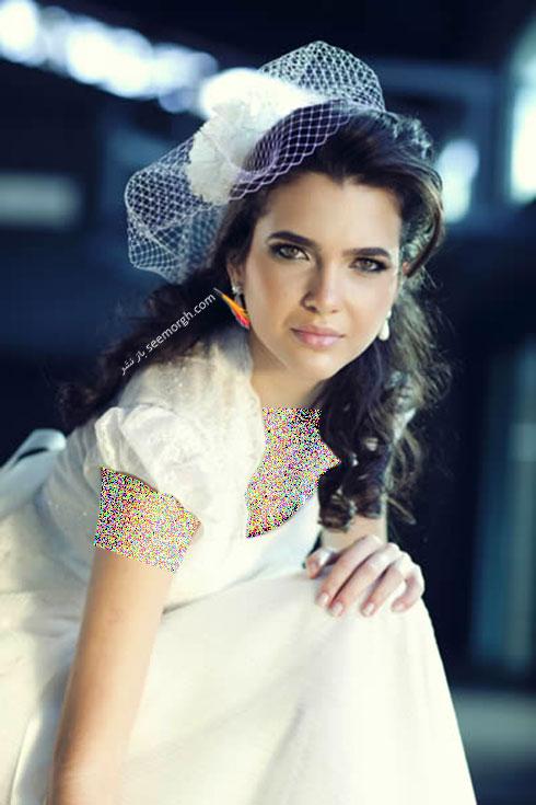 تزیین موی عروس با تور کوتاه و گل - مدل شماره 9