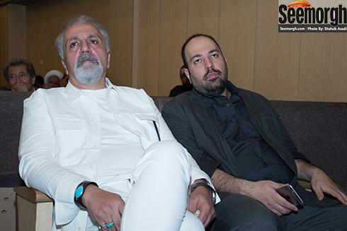 علی معلم و علی اوجی در مراسم ختم پدر ستاره و لاله اسکندری