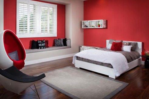 دکوراسیون اتاق خواب با رنگ قرمز آتشین