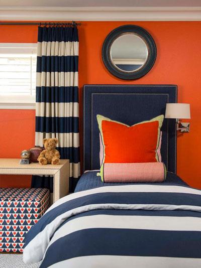 دکوراسیون اتاق خواب با رنگ پرتقالی روشن