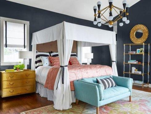 دکوراسیون اتاق خواب با رنگ خاکستری تیره