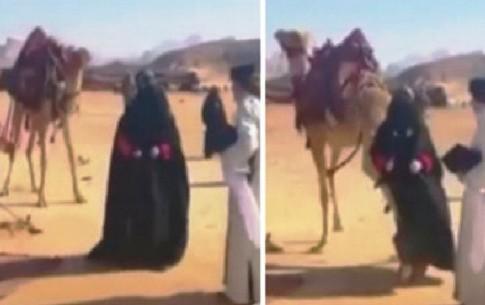 لگد زن شتر به بازیگر زن