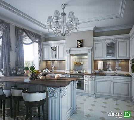 دکوراسیون آشپزخانه با پرده های کلاسیک