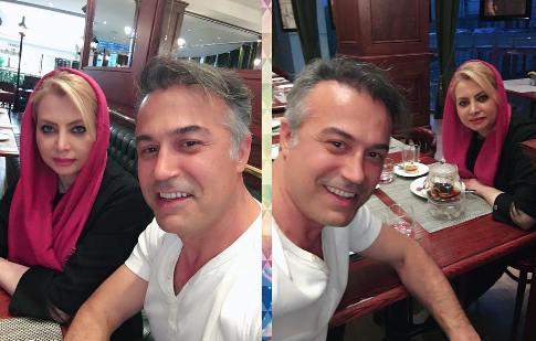 سلفی دانیال حکیمی و همسرش در رستوران