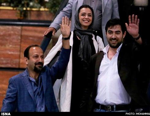 شهاب حسینی بهمراه ترانه علیدوستی و اصغر فرهادی در فرودگاه