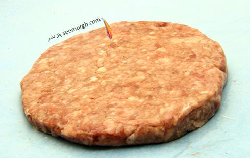 مرحله اول طرز تهیه ساندویچ همبرگر مغزدار