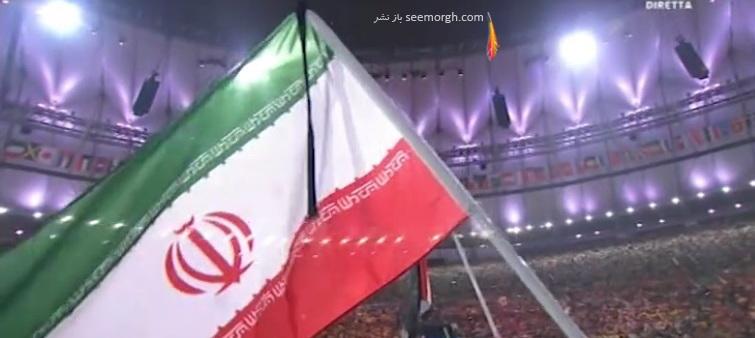 عکس پرچم ایران با روبان مشکی در اختتامیه پارالمپیک 2016