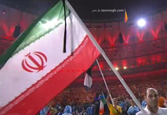 پرچم ایران با روبان مشکی در اختتامیه پارالمپیک 2016