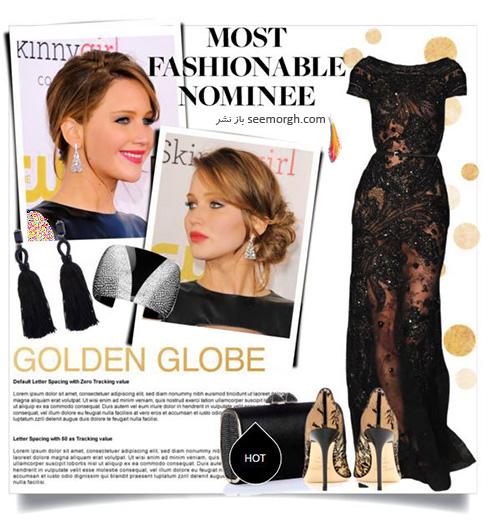 ست کردن لباس شب به سبک جنیفر لارنس Jennifer Lawrence -  مدل شماره 6