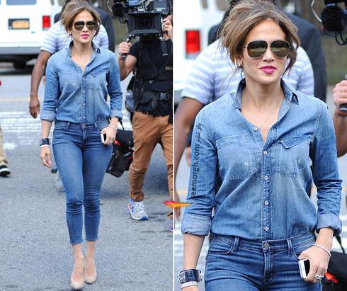 ست کردن شلوار جین به سبک جنیفر لوپز Jennifer Lopez برای پاییز 2016 - ست شماره 7