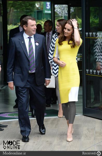 لباس زرد و سفید کیت میدلتون Kate Middleton