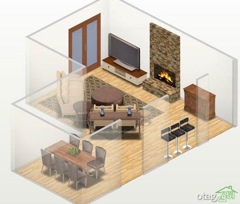 اصولی برای چیدن اتاق پذیرایی ال شکل - عکس شماره 2