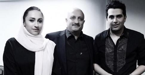 مسعود روشن پژوه و دخترش در کنار حمید عسکری
