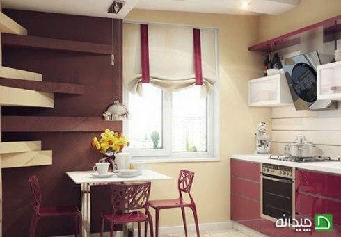 دکوراسیون آشپزخانه با پرده مدرن