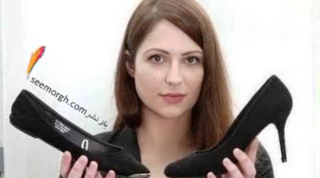 خانم تورپ درکنار کفشی که خودش می پوشید و کفش پیشنهادی شرکت