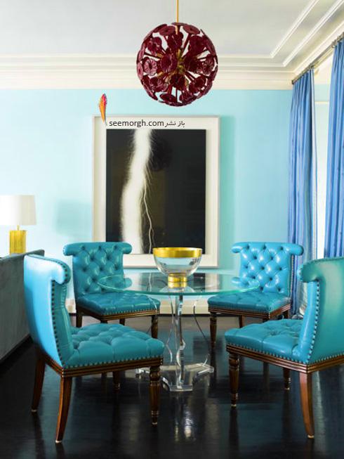 دکوراسیون اتاق غذاخوری دلباز با رنگ آبی فیروزه ای روشن برای پاییز 2017