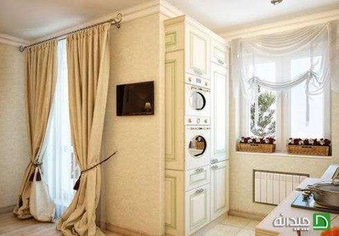 دکوراسیون آشپزخانه با پرده به سبک رومی