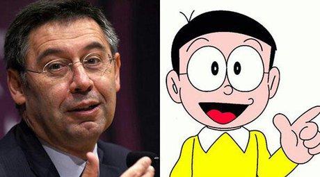عکس رئیس باشگاه بارسلونا و جانومیتا در کارتون درامون