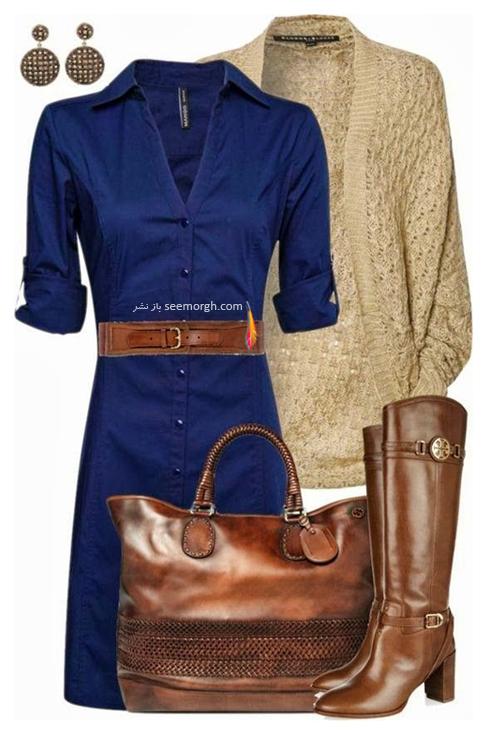 ست کردن لباس با رنگ سورمه ای و قهوه ای، یک ترکیب زمستانی زیبا و شیک
