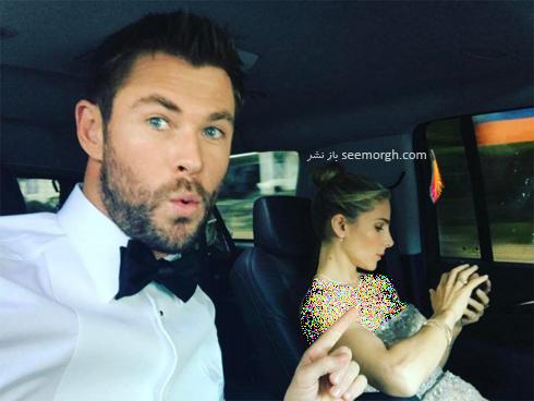 کریس همزوورث Chris Hemsworth در حال رفتن به مراسم گلدن گلوب 2017 Golden Globe
