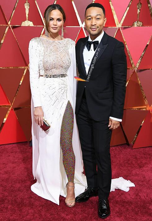 کریسی تیگن Chrissy Teigen و جان لجند John Legend در مراسم اسکار 2017 Oscar