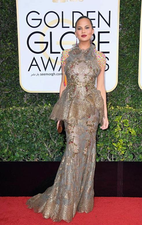 مدل لباس کریستی تیگن Chrissy Teigen در مراسم گلدن گلوب 2017